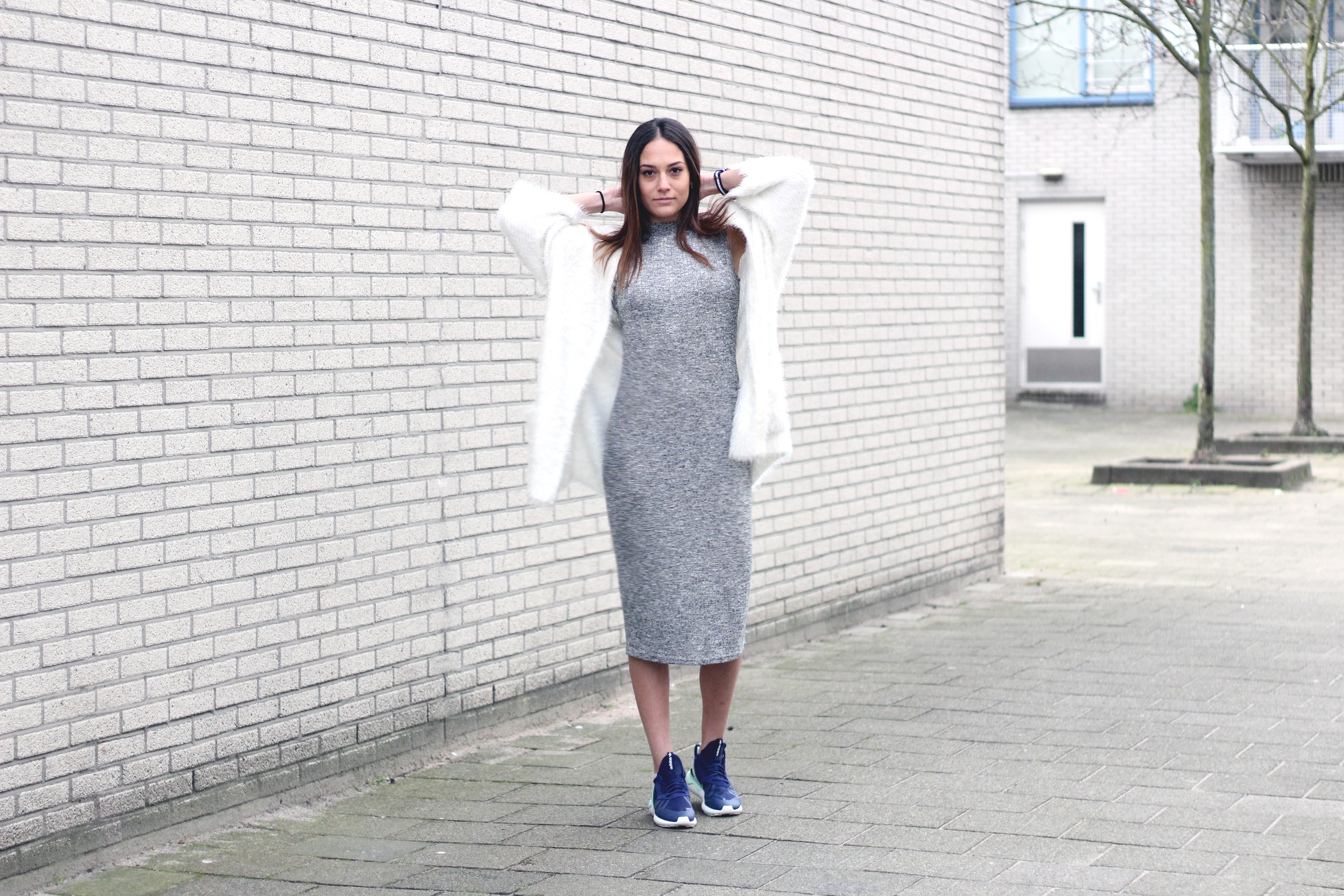 outfit bulgarian fashion blogger quite a looker adidas tubular runner sneakers oversized cardigan midi dress minimalist scandinavian style www.quitealooker.com