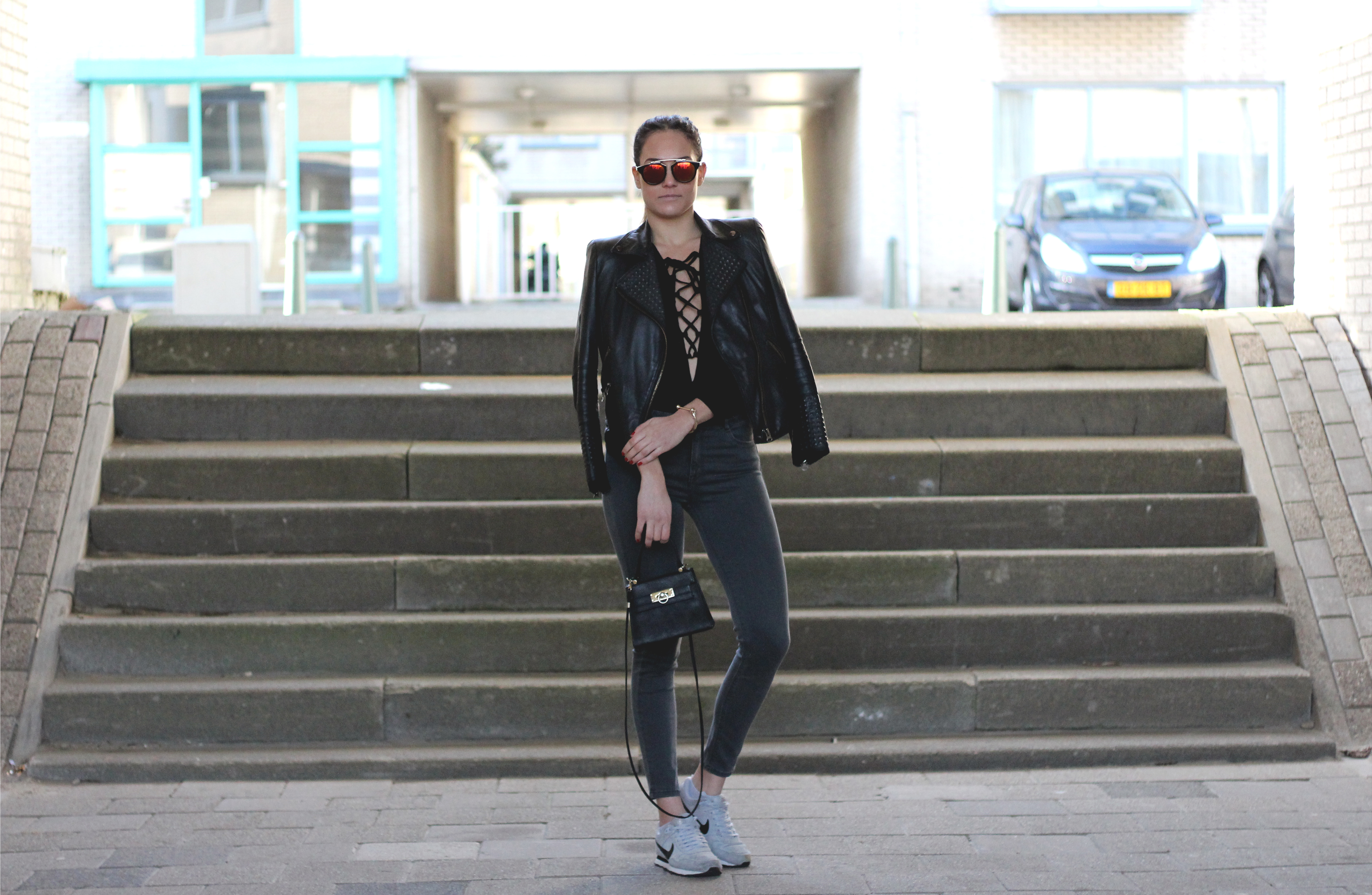 outfit fashion blog wholesalebuying nike md runner dressgal sunglasses zara leather jacket review bulgarian fashion blogger quite a looker www.quitealooker.com български моден блог