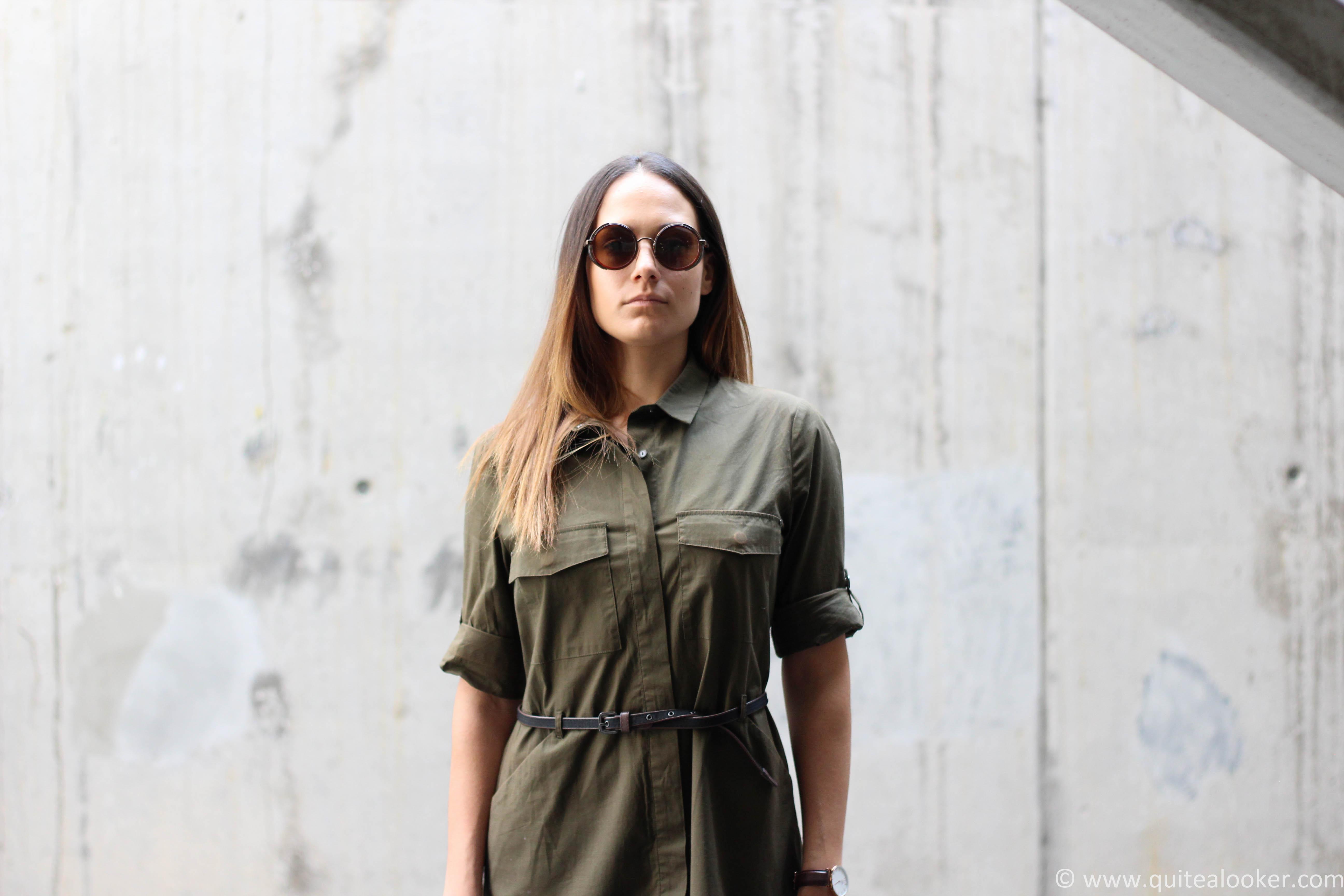 Green Mango shirt dress outfit by Bulgarian fashion blogger Michaella from Quite a Looker | Deichmann high heels, H&M mini shoulder bag