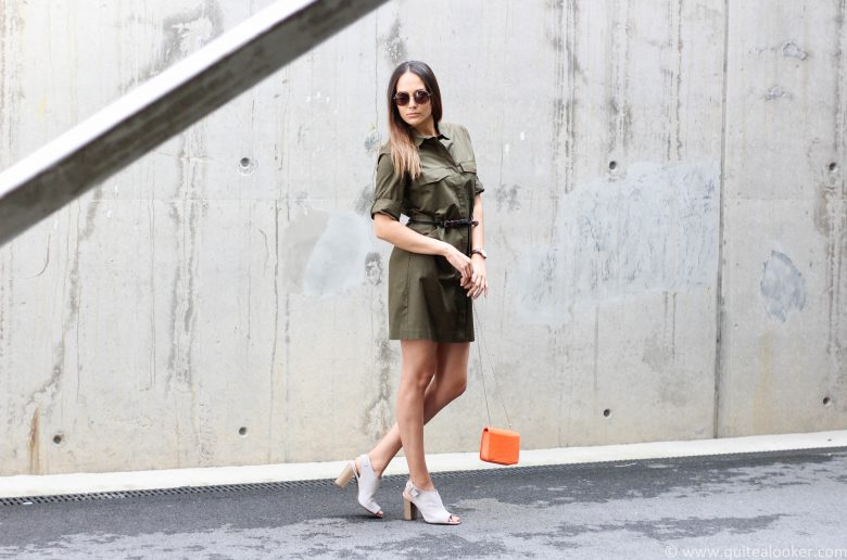 Green Mango shirt dress outfit by Bulgarian fashion blogger Michaella from Quite a Looker | Deichmann high heels, H&M mini shoulder bag