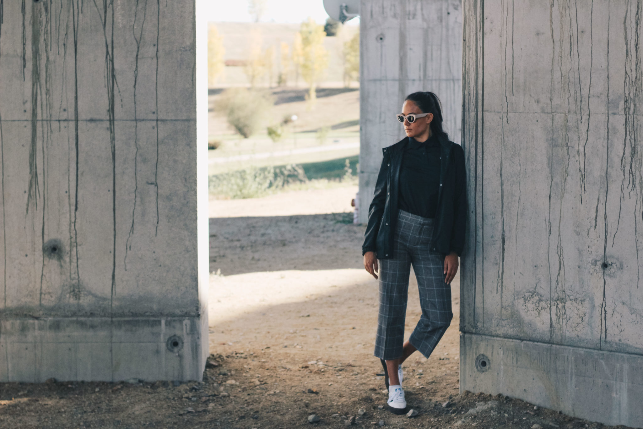 Adidas Originals Sambarose white women, Lacoste polo shirt, checked grey Zara pants, outfit, style by Bulgarian fashion blogger Michaella from Quite a Looker